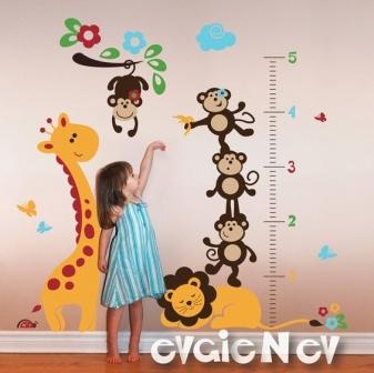 mẫu tranh vẽ cây đo chiều cao của bé