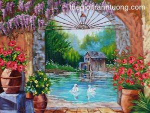 Mẫu - vẽ tranh tường phong cảnh - phòng khách 05