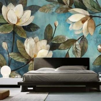 vẽ hoa tranh tường phòng ngủ 02