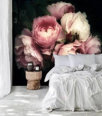 vẽ hoa tranh tường phòng ngủ 04
