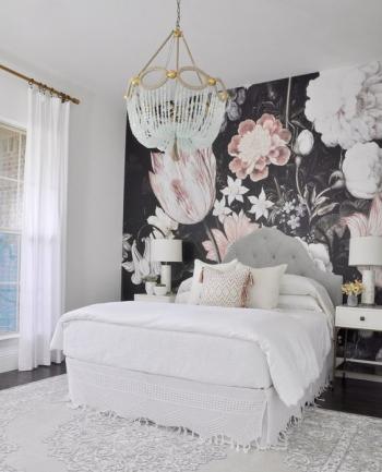 vẽ hoa tranh tường phòng ngủ 05