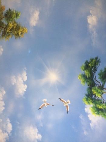 vẽ trần mây nhà cổ điện Ecopak