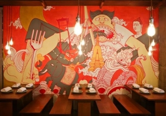vẽ tranh tường nhà hàng 06