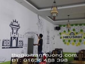 Vẽ tranh tường nhà hàng chay Hiếu Sinh, Hồ Tây Hà Nội