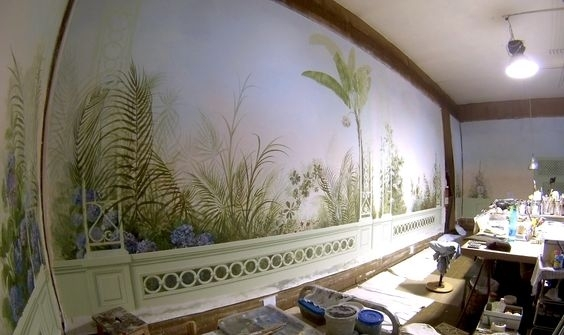 vẽ tranh tường phòng khách cổ điện 01