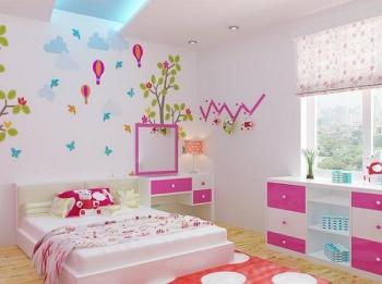 vẽ tranh tường phòng ngủ bé gái 02