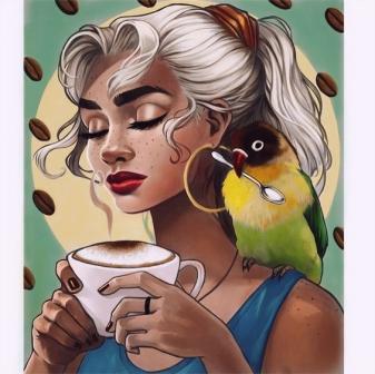 vẽ tranh tường quán trà sữa 06