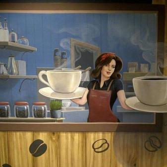 vẽ tranh tường quán trà sữa 08