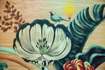 vẽ tường lá quán cafe Hà Nội