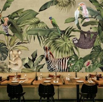 vẽ tường lá quán cafe