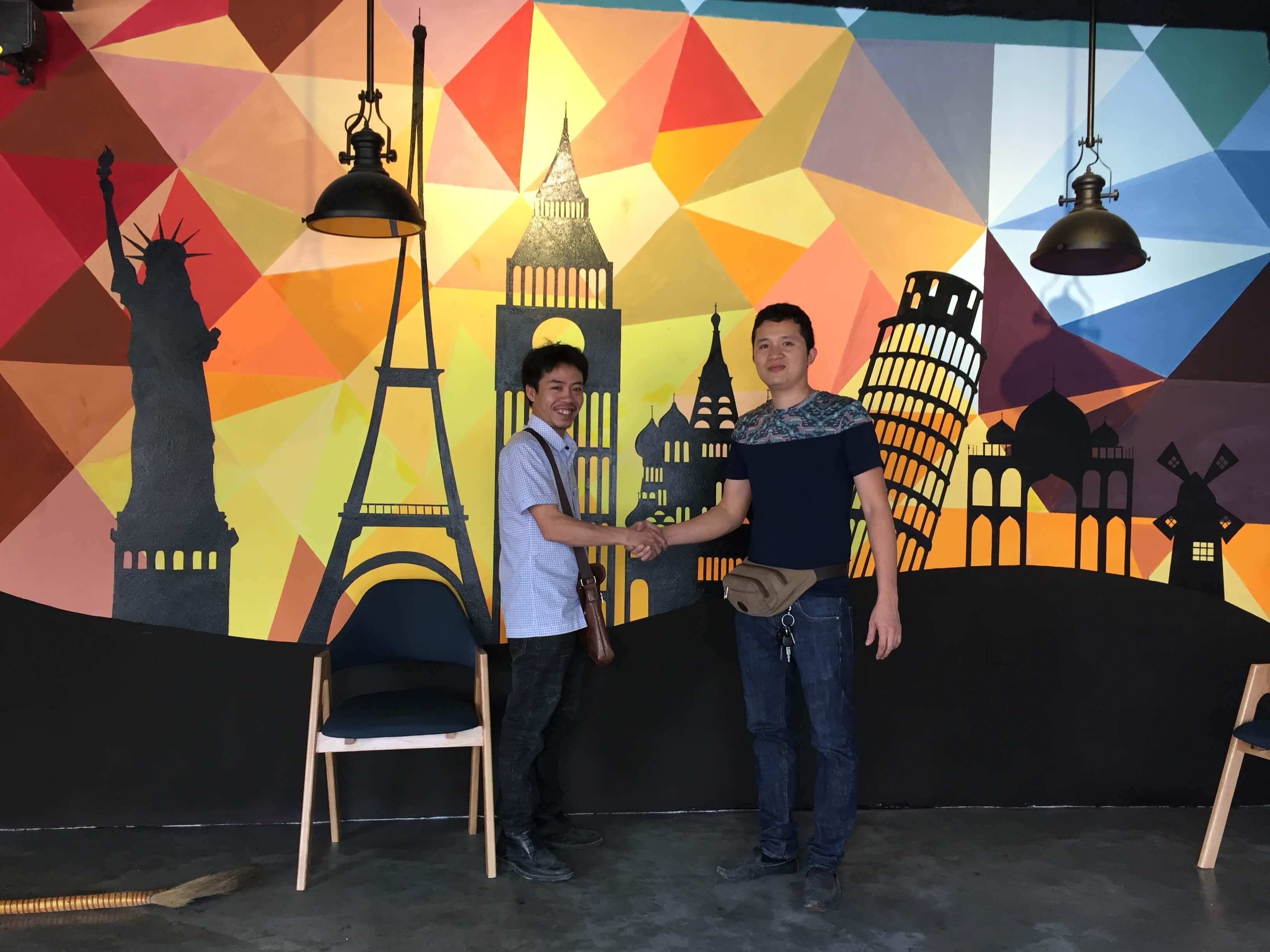 Vẽ tranh quán cafe anh Huy Sơn Tây