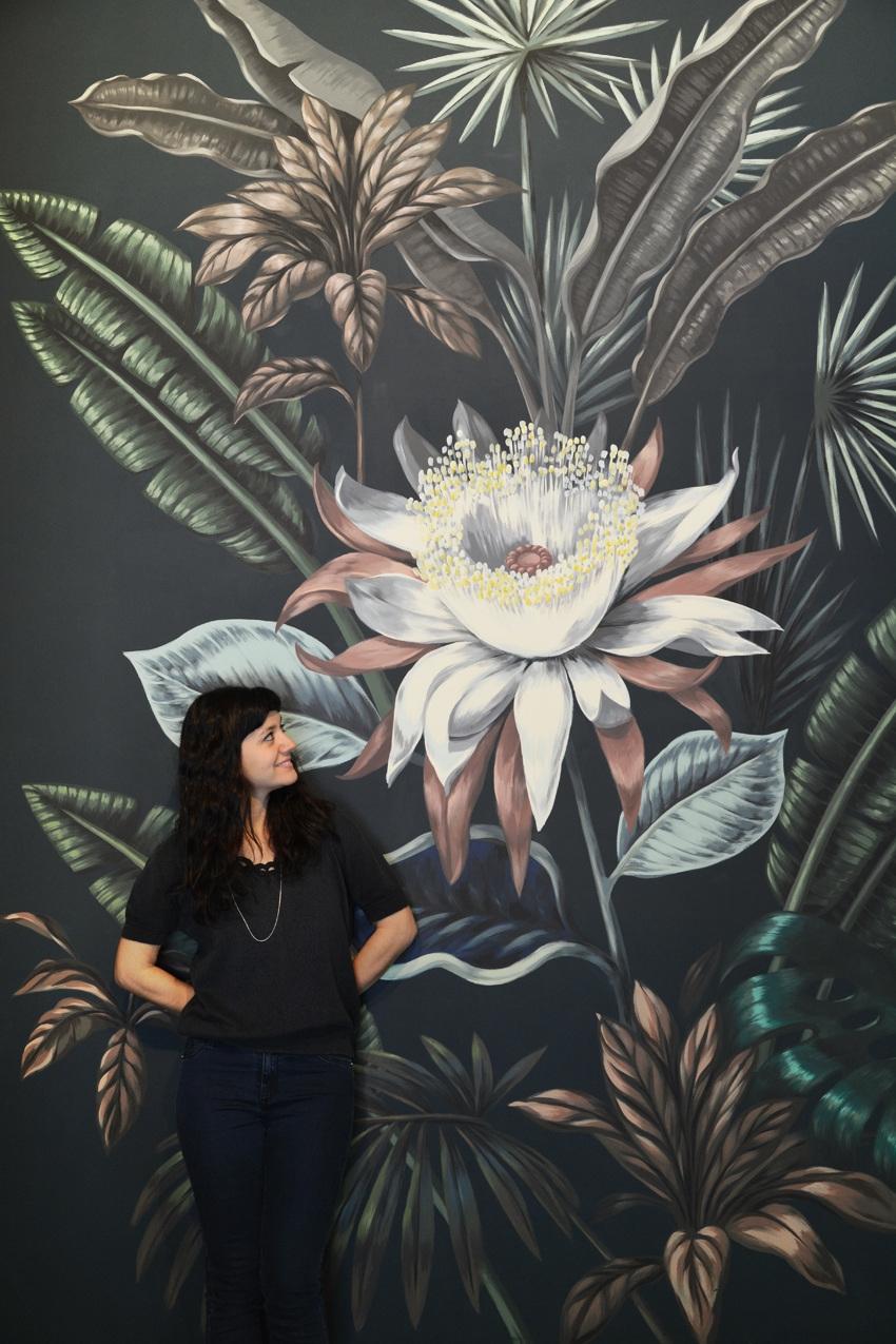 vẽ tường lá quán cafe 03